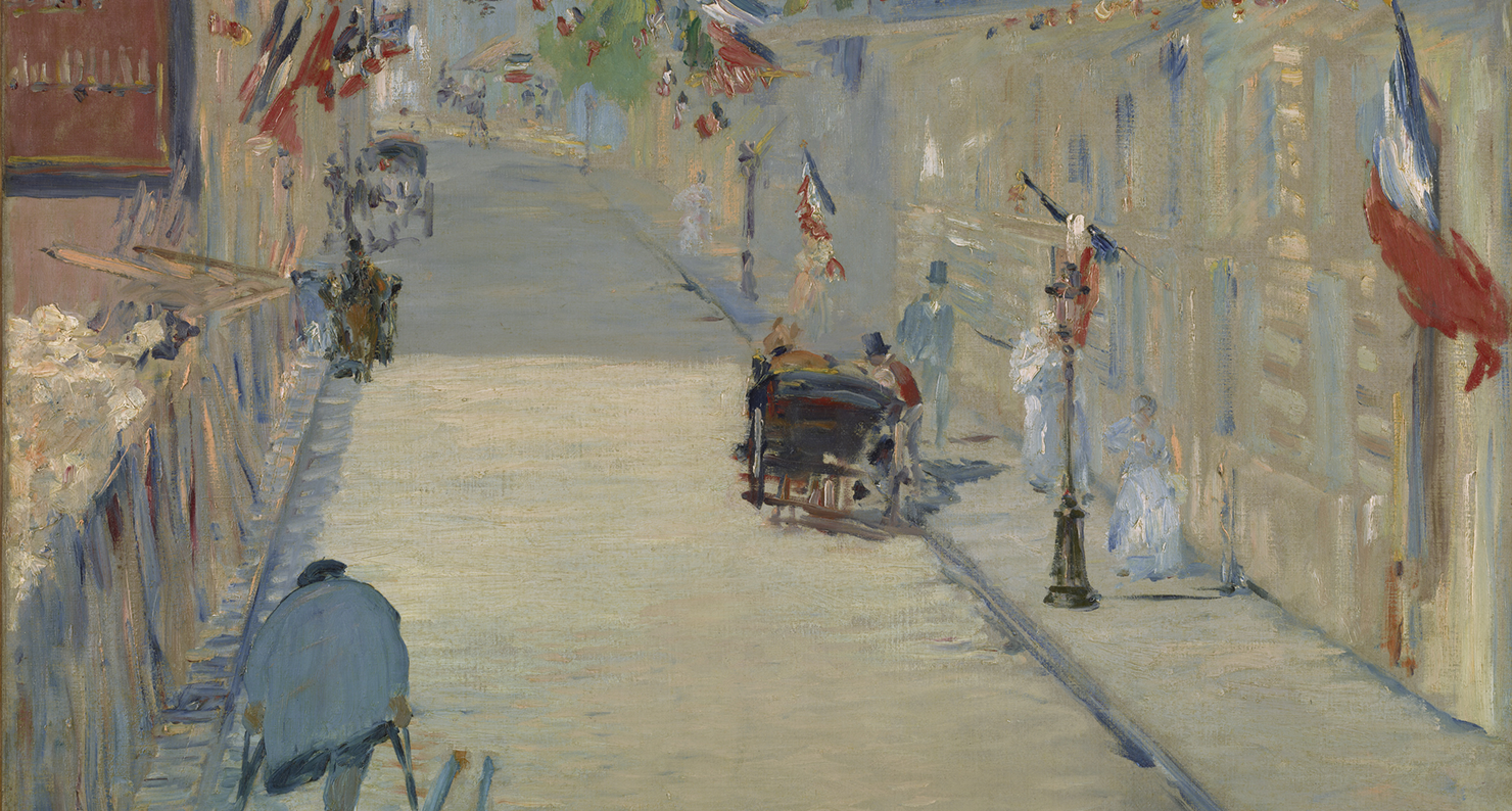 The Rue Mosnier with Flags (detail), by Édouard Manet, 1878. Digital image courtesy of the Getty's Open Content Program.