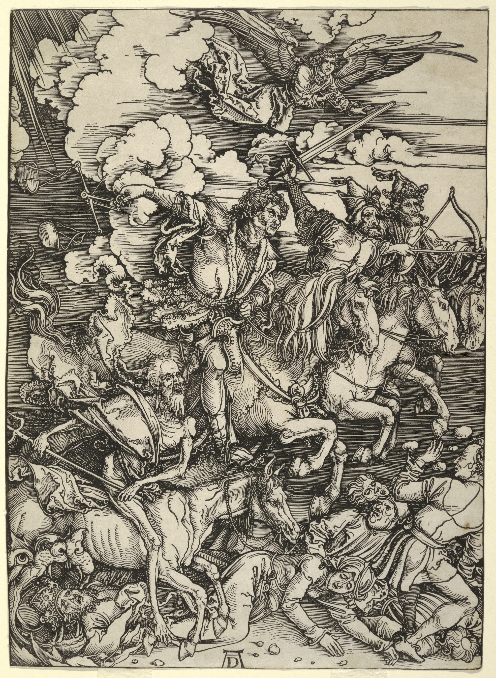 Four men, with weapons drawn, on horseback riding over people. Angel flying above.