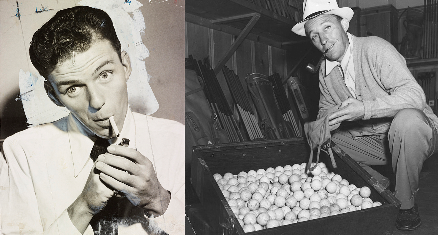 Frank Sinatra lighting a cigarette, 1944; Bing Crosby with golf balls during a World War II scrap rubber drive, 1942.