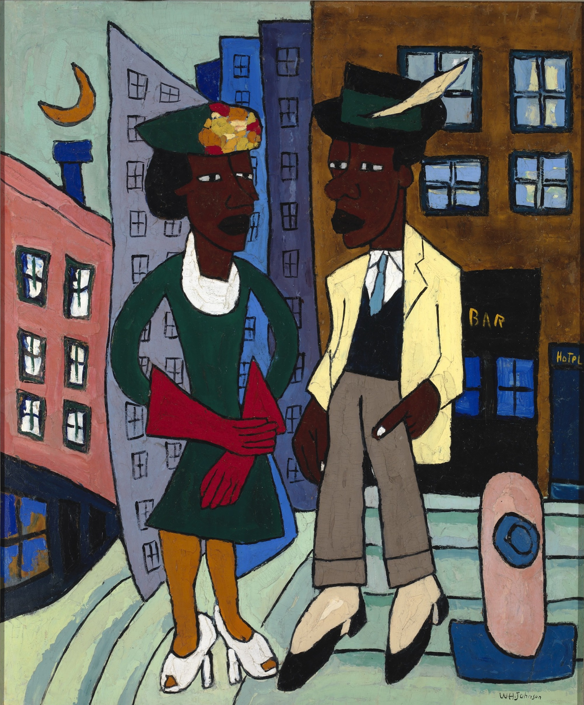 A William Johnson painting of two Black Americans, a man and a woman, in 1930s Harlem dressed in formal and stylish clothing for a night out. Behind them you can see tall buildings and a crescent moon.