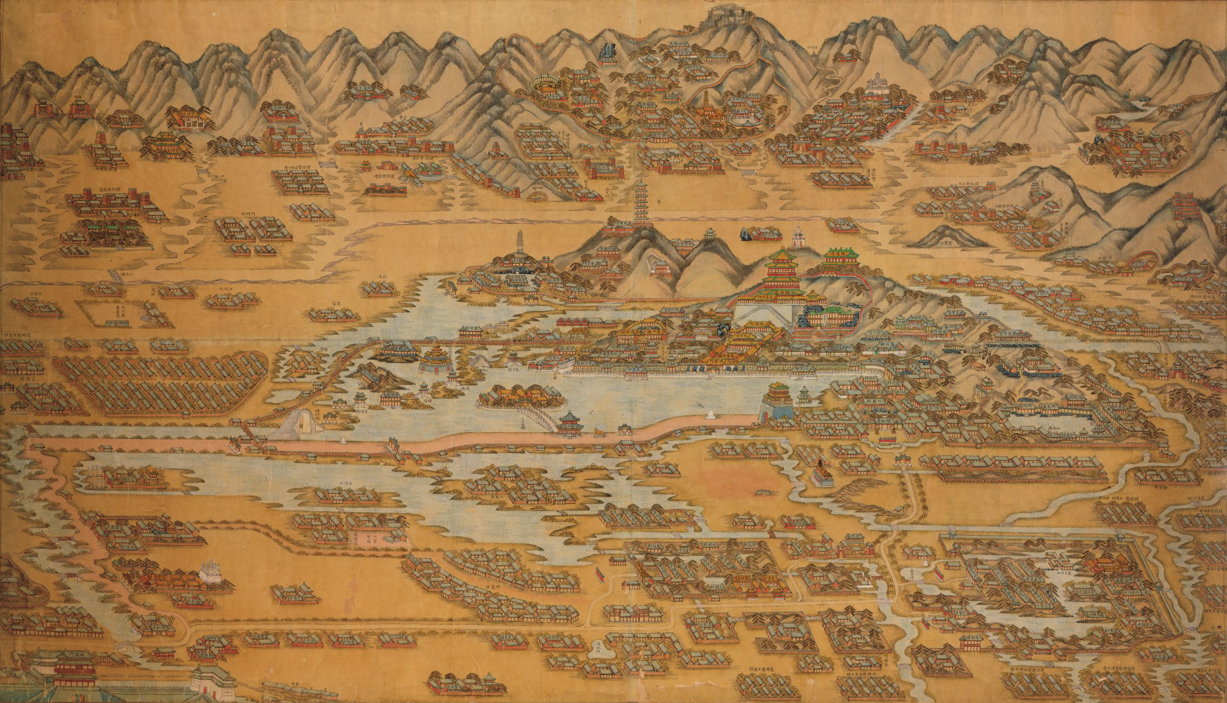 Eight Banners Brigade barracks, temples, villages, bridges, mountains, and the Summer Palace, Beijing, after 1888. Library of Congress, Geography and Map Division.
