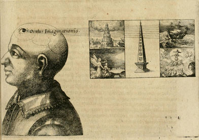 A diagram from Robert Fludd's memory arts, showing the bust of a man. An eye on his skull is labeled oculus imaginationis (eye of imagination). The eye looks toward five images: the tower of babel, an obelisk, Tobias and the angel, a ship, and the last judgment.