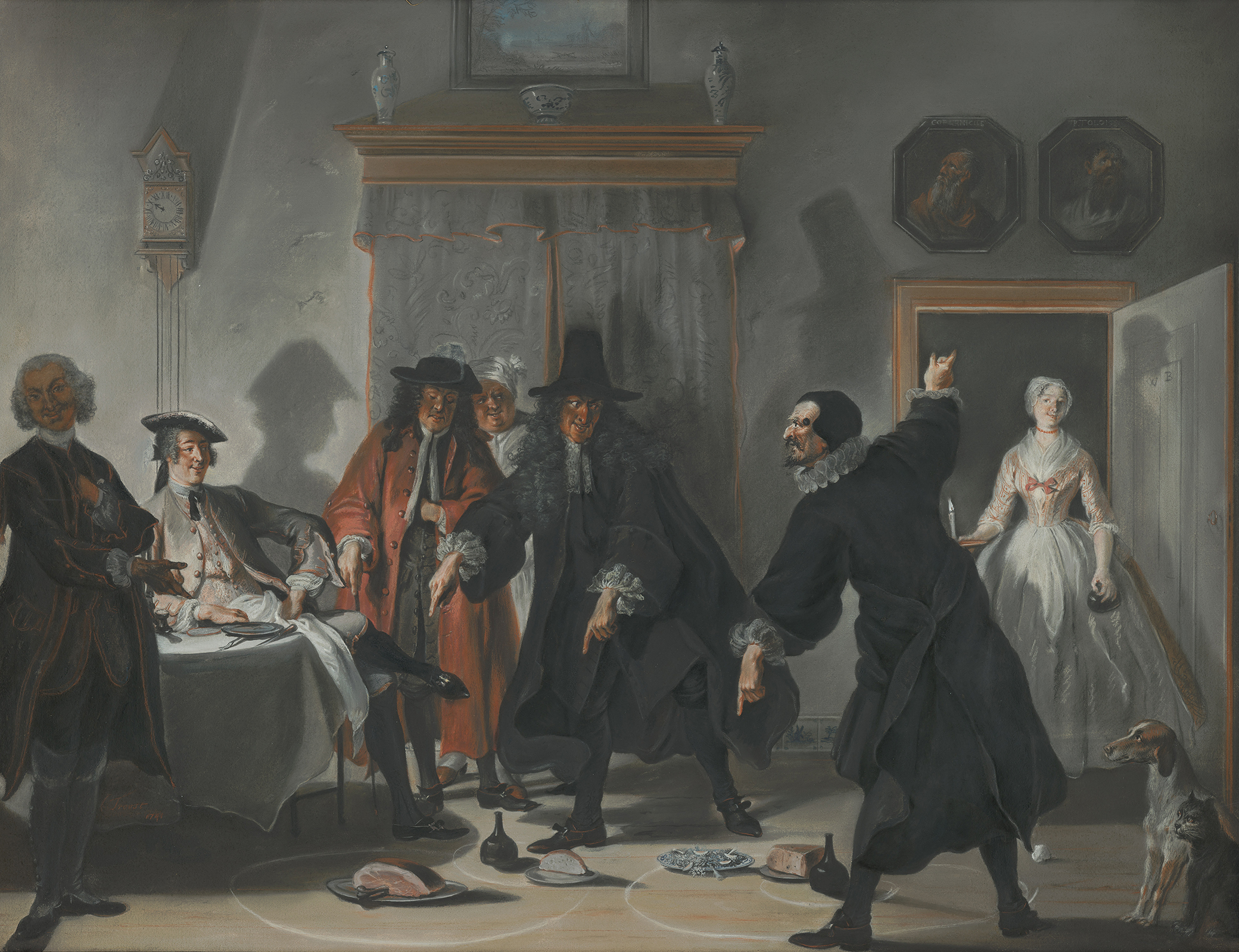 The Mathematicians or the Young Lady Who Fled: The Dispute Between Doctors Raasbollius and Urinaal, painting by Cornelis Troost, 1741. Mauritshuis, The Hague.