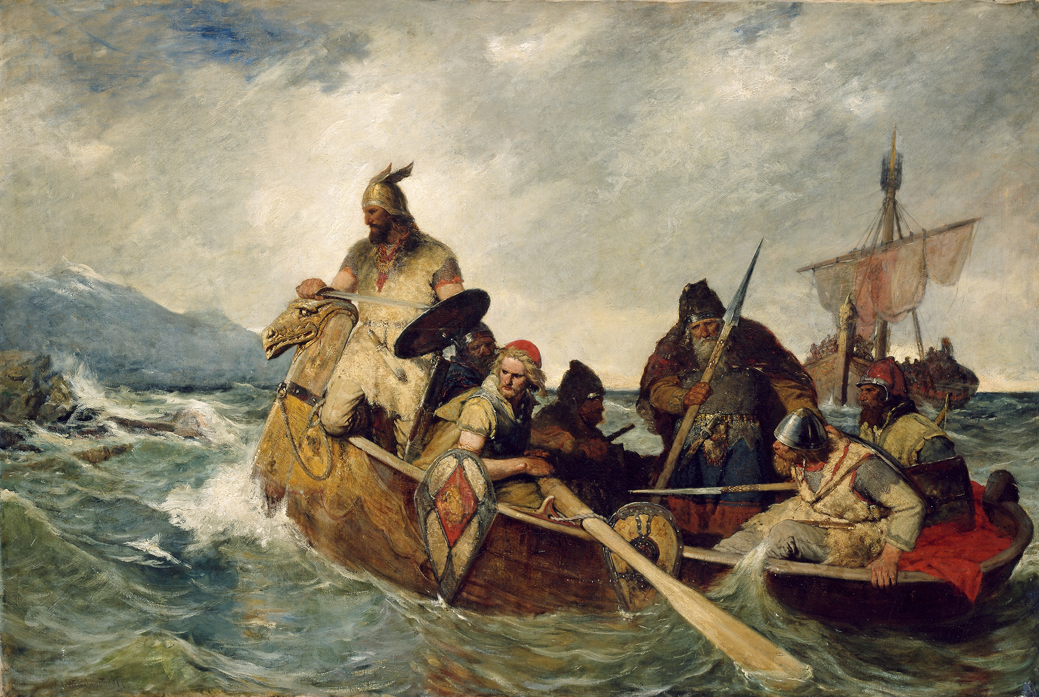 Norwegians Land in Iceland in 872, by Oscar Wergeland, 1877. National Gallery of Norway, The Fine Arts Collections.