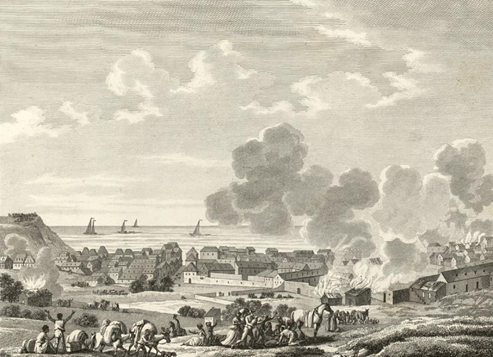 Incendie du Cap Français, by Swebach-Desfontaines, 1802.