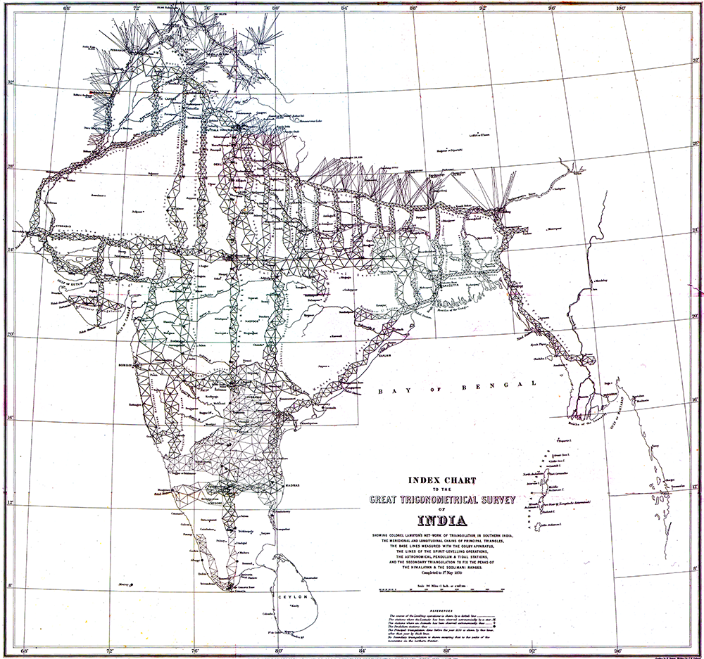 Index Chart of the Great Trigonometric Survey of India, 1870.