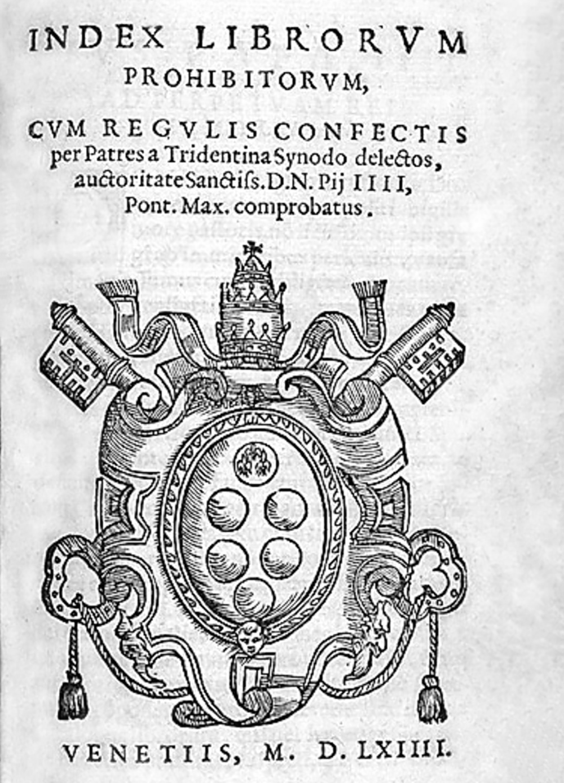 Index of Prohibited Books, 1564.