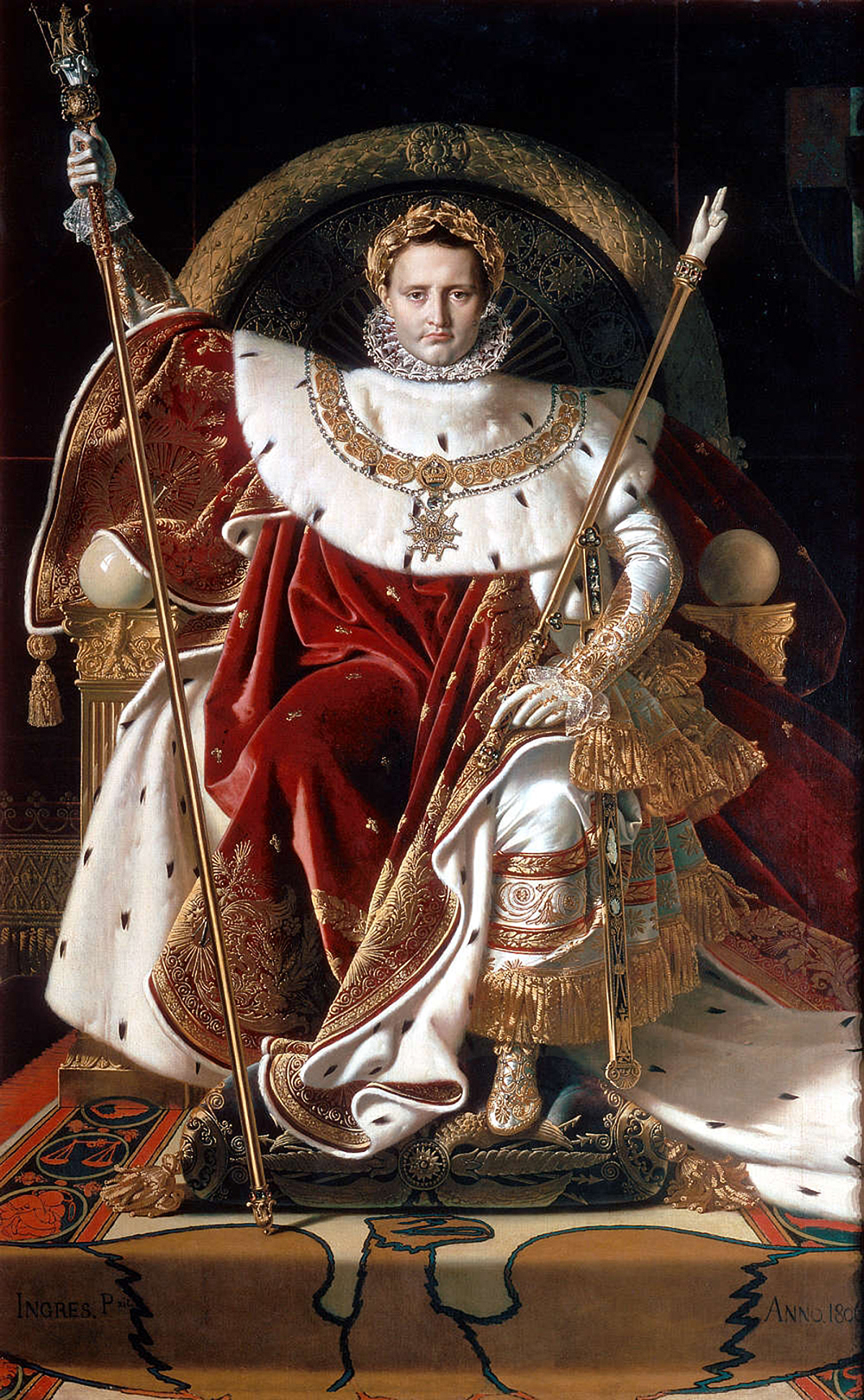 Napoleon on His Imperial Throne, by Jean Auguste Dominique Ingres, 1806. Wikimedia Commons, Musée de l'Armée.