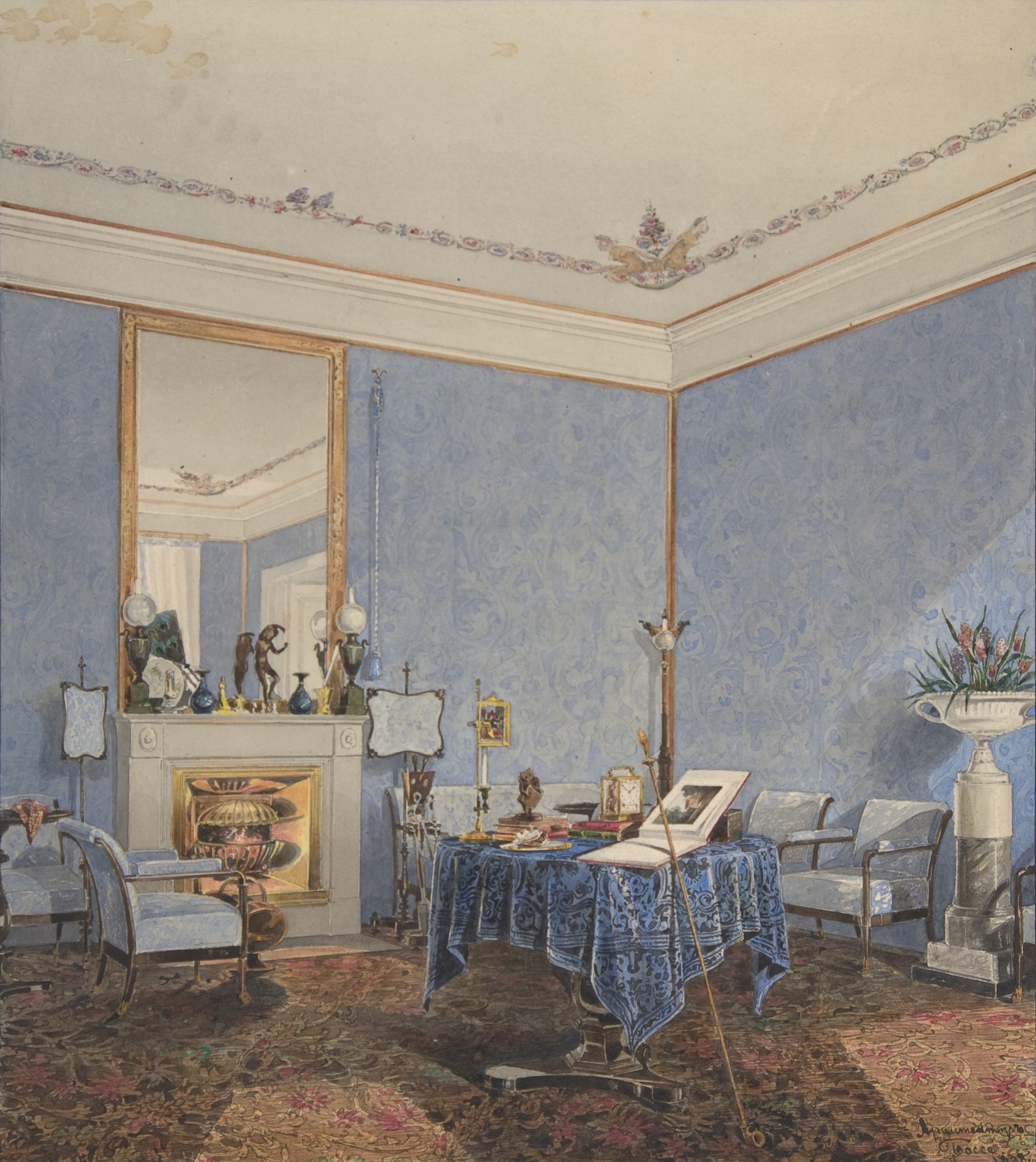 A painting of a large drawing room with pale blue wallpaper and furnishings. On one wall a mirror hangs above a fireplace. In the center of the room is a round table with a blue tablecloth, covered in books and other small objects.