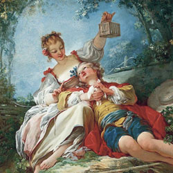 A Fragonard painting of a couple lounging.