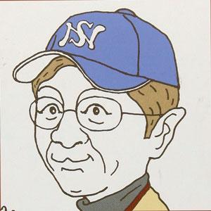 A cartoon of a Japanese man wearing a baseball cap.