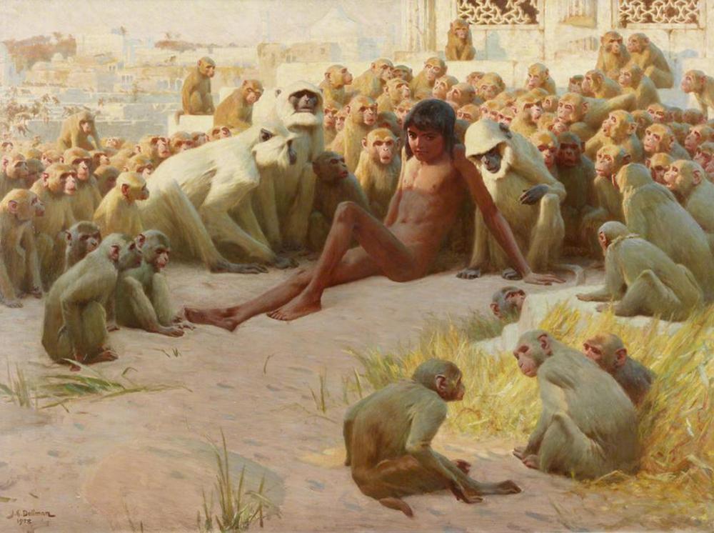 """Mowgli Made Leader of the Bandar-Log,"" by John Charles Dollman, 1903. Wikimedia Commons."