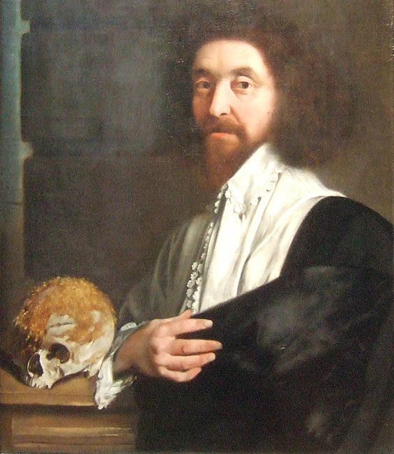 Portrait of John Tradescant the younger, featuring a skull with usnea growth, attributed to Thomas De Critz, 1652.