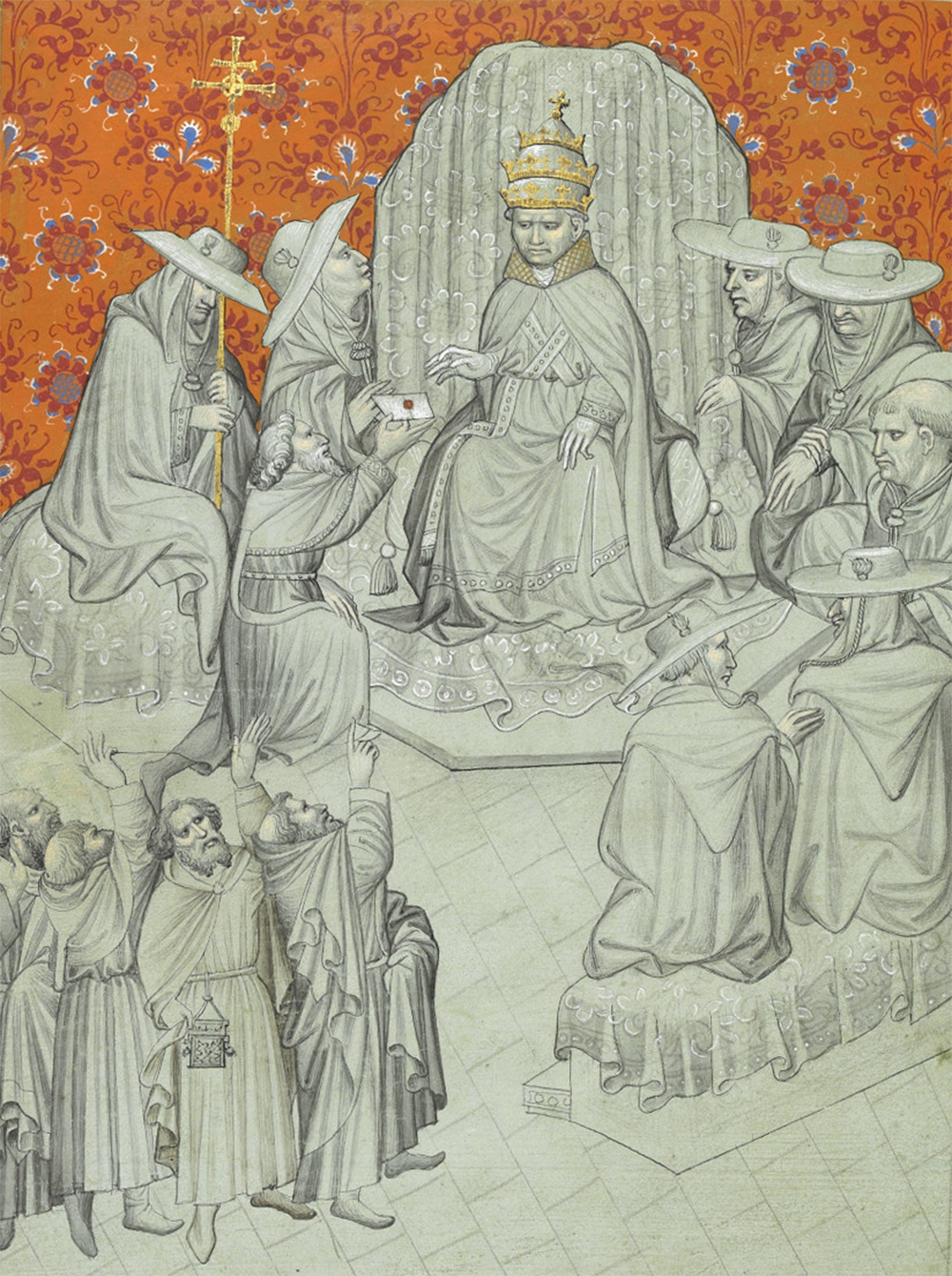 """Miniature of Pope John XXII, enthroned and surrounded by cardinals, receiving the rejection by the Greek church of his claims to supremacy, from """"The Travels of Sir John Mandeville,"""" c. 1400–1424. The British Library."""