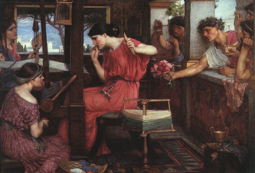 Penelope and the Suitors, by John William Waterhouse, 1912. Wikimedia Commons, Aberdeen Art Gallery.