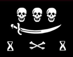 a black flag with a white skull and crossbones.