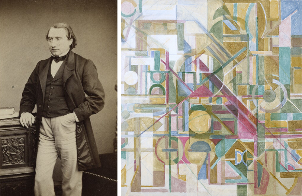 Left: Ernest Renan, by Erwin Frères, c. 1860. Right: Untitled, by Maurice Golubov, 1948.