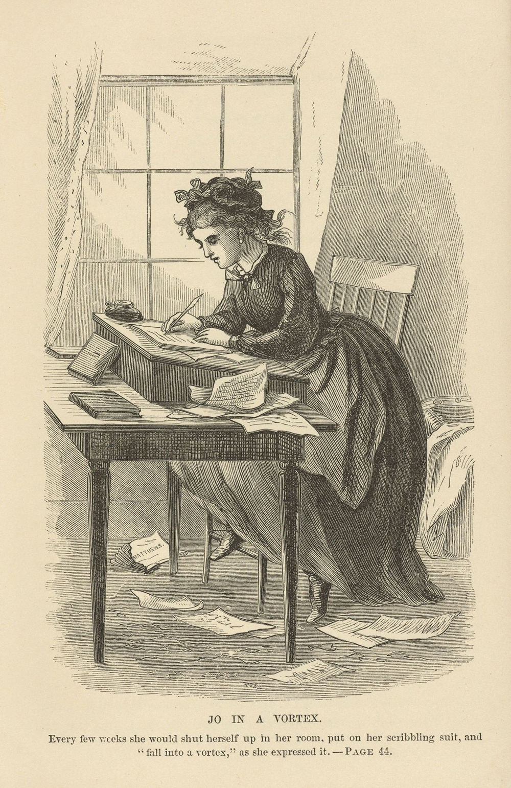 """Illustration from """"Little Women,"""" 1870. Library of Congress."""