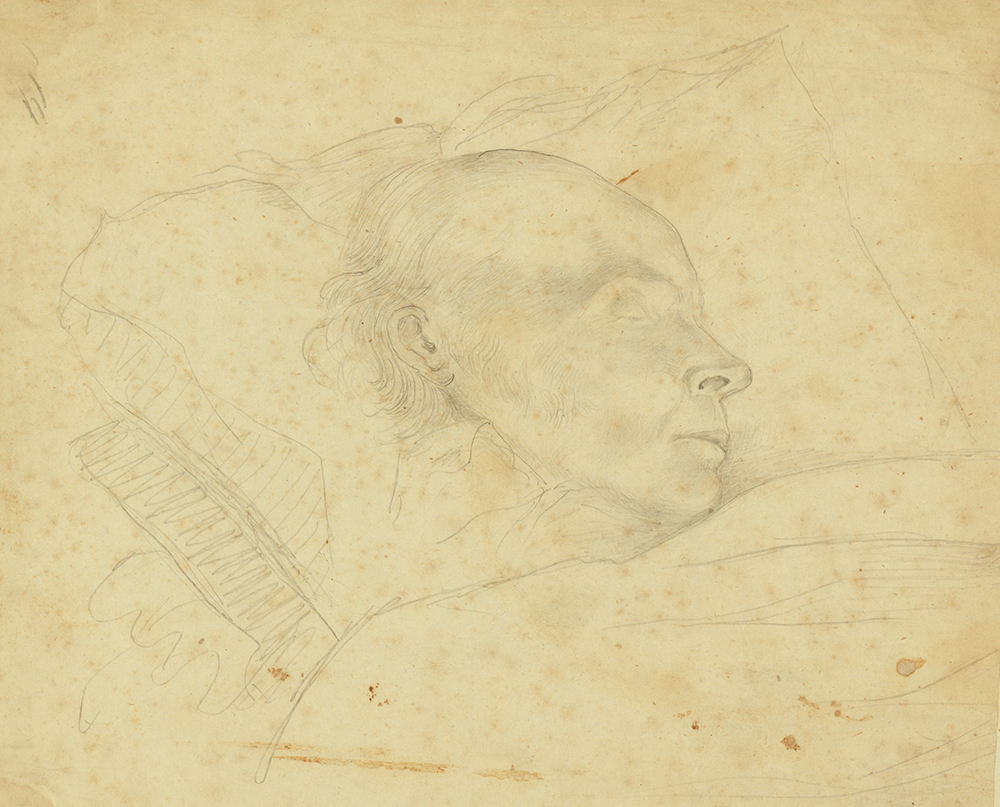 The original sketch of Mr. Adams, taken when dying in the Rotunda of the Capitol at Washington, by Arthur J. Stansbury, 1848. Library of Congress, Prints and Photographs Division.