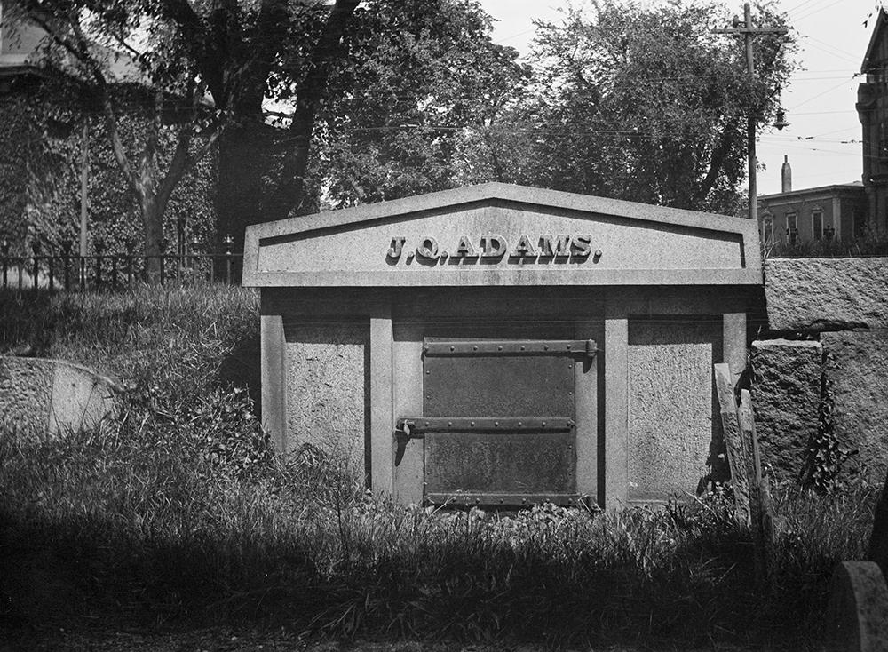 John Quincy Adams' tomb, c. 1919. Photograph by Warren S. Parker. Digital Commonwealth, Thomas Crane Public Library, Parker Collection.