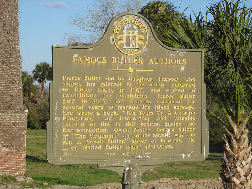 "Photograph of ""Famous Butler Authors"" sign Butler Island Plantation, 2013, by Doug Kerr. Flickr (CC BY-SA 2.0)."
