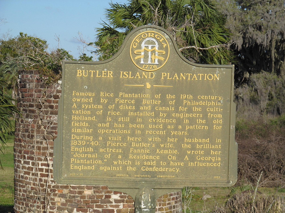 Photograph of Butler Island Plantation sign, 2013, by Doug Kerr. Flickr (CC BY-SA 2.0).