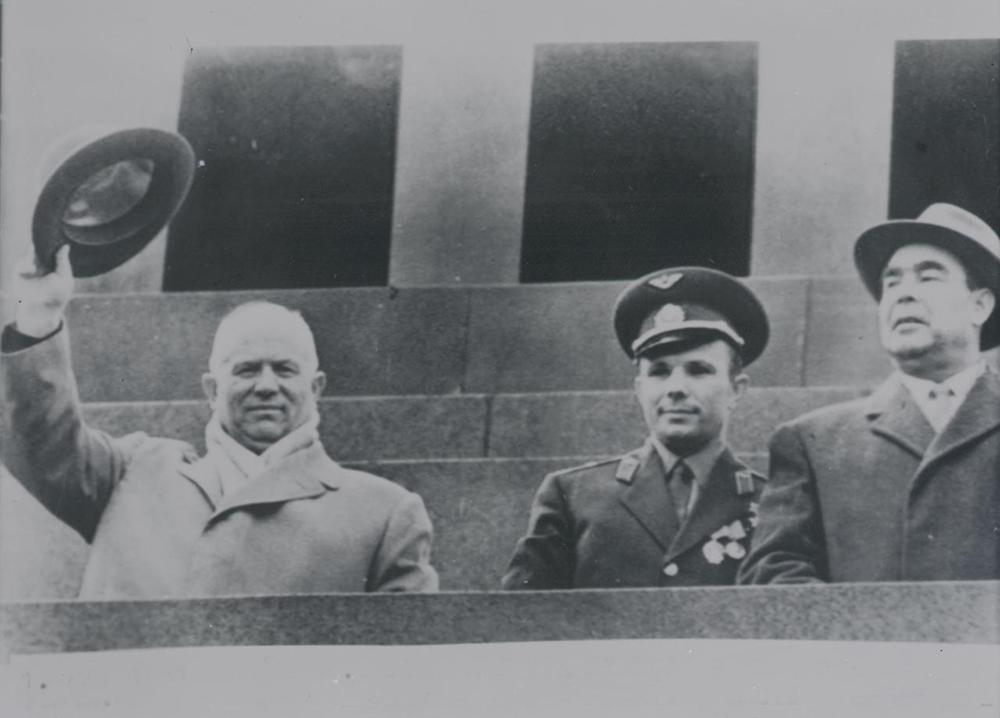 Nikia Khrushchev, Yuri Gagarin, and Leonid Brezhnev, Labor Day celebration in Moscow, May 1, 1961. National Archives of the Netherlands.
