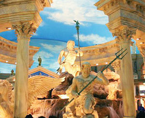 Statues holding tridents in Caesar's Palace