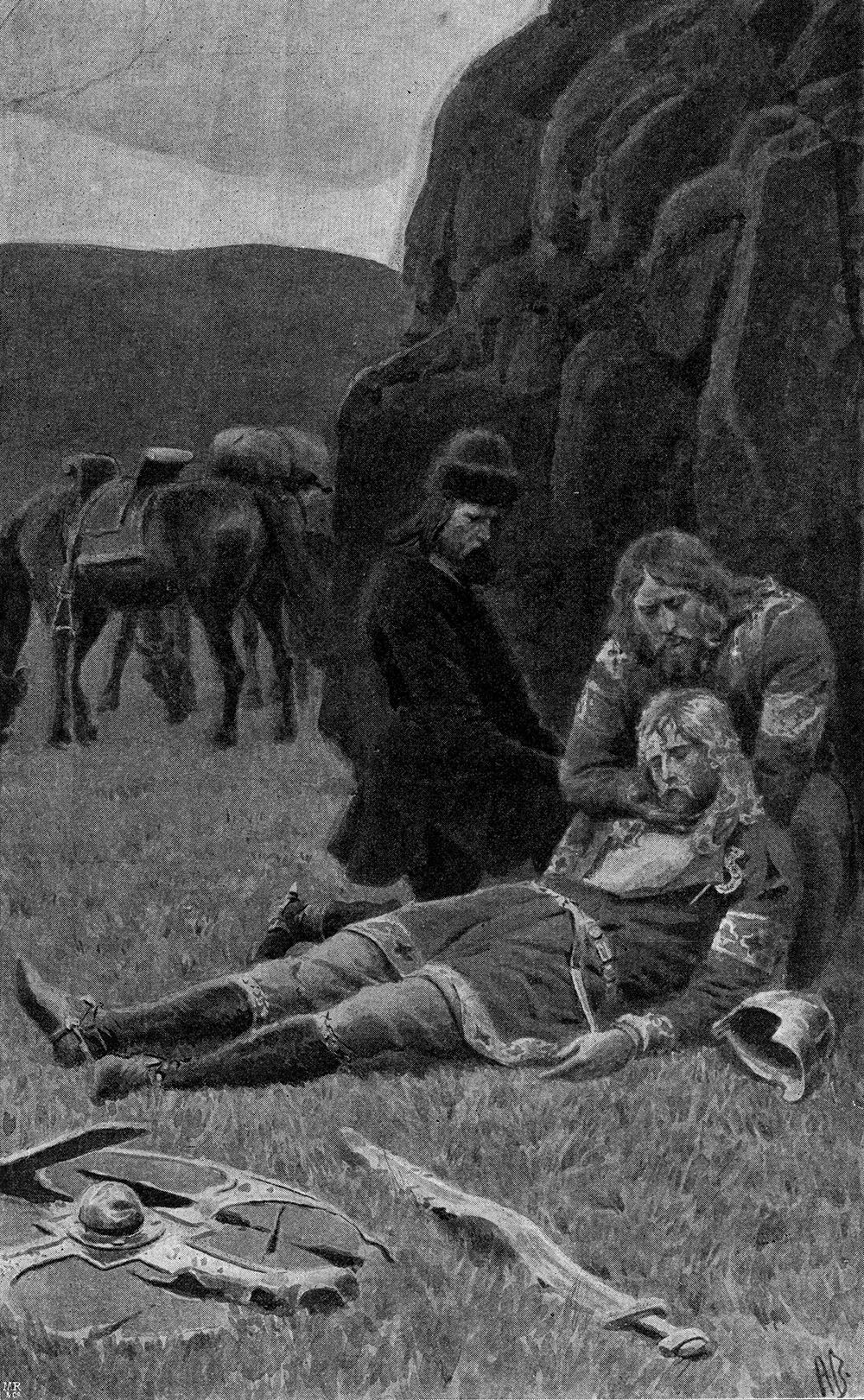 Kjartan dead in the lap of Bolli, by Andreas Bloch, 1898. From Vore fædres liv: karakterer og skildringer fra sagatiden, edited by Nordahl Rolfsen, trans. Gerhard Gran.