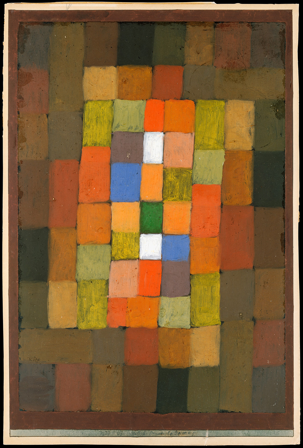 """Static-Dynamic Gradation,"" by Paul Klee, 1923. The Berggruen Klee Collection, 1987, The Metropolitan Museum of Art. Klee offered the aphorism ""To paint well means only this: to put the right colors in the right spot"" to his students at the Bauhaus."