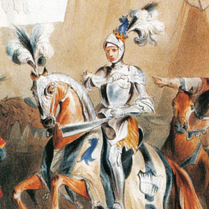 A painting of a knight on horseback