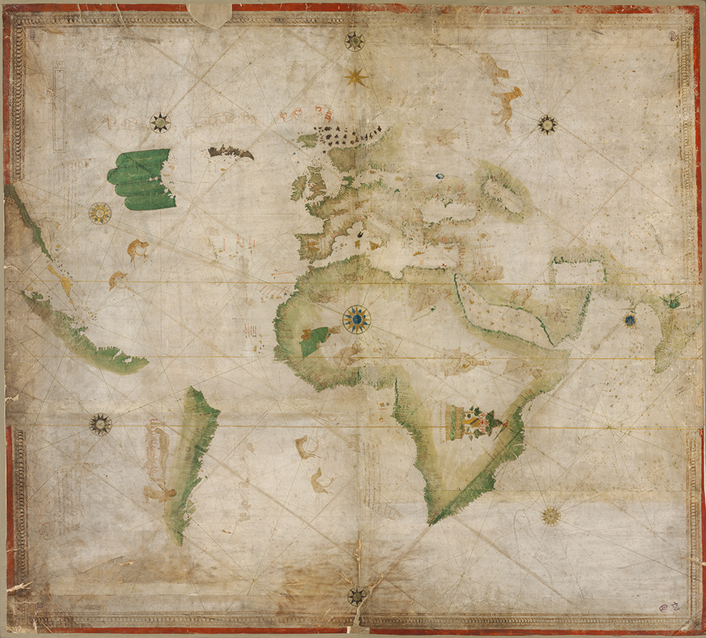 Kunstmann II, or Four Finger Map, c. 1502‒6. This portolan chart was copied by an Italian cartographer from a Portuguese original. World Digital Library, Bavarian State Library.