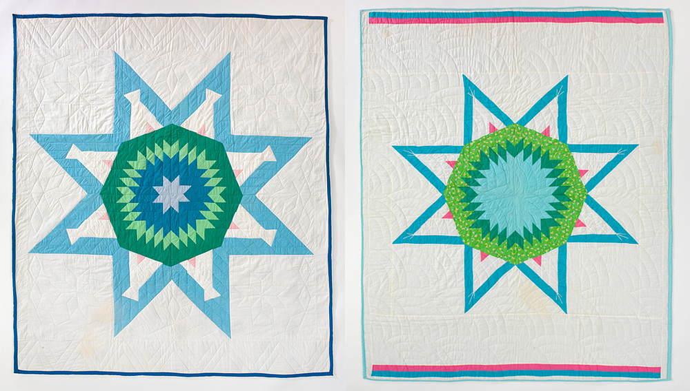 (L) Tipis Around the Lake quilt, by Emma King, c. 1968–88; (R) Tipis Round the Lake quilt, by Regina Brave Bull, c. 1968–75. National Museum of the American Indian.