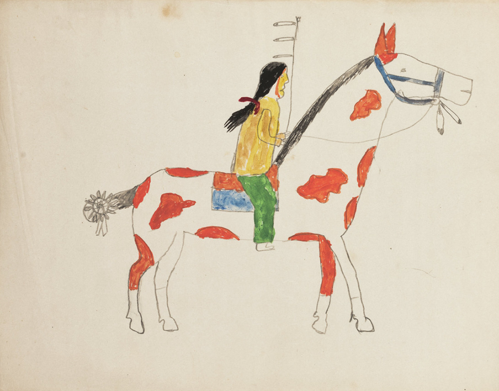 Lakota drawing composed at Fort Yates, North Dakota, c. 1913. Newberry Library, Edward E. Ayer Digital Collection.