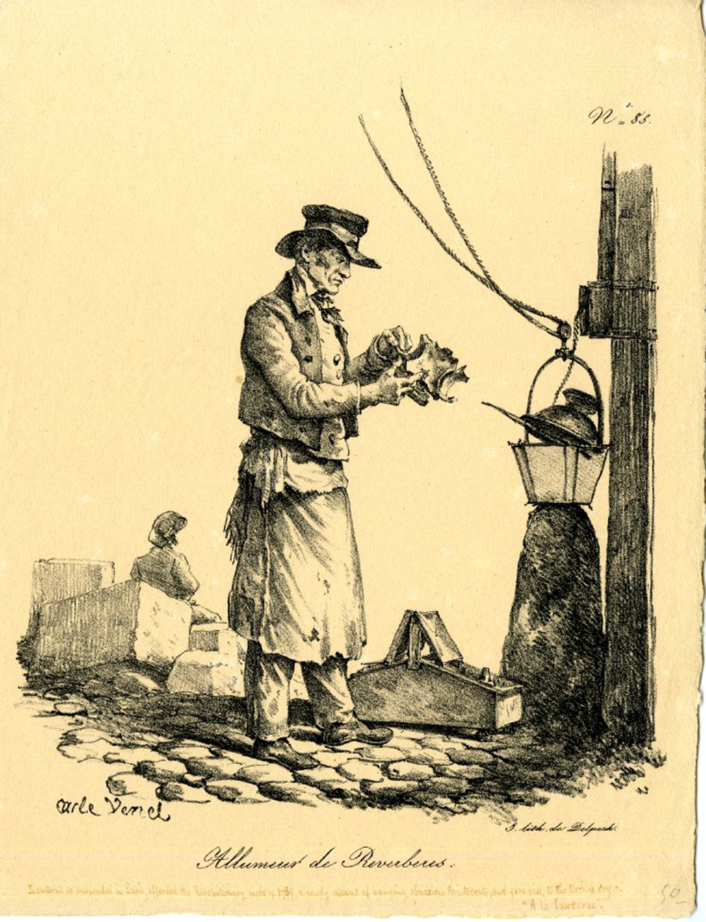 Lamplighter, lithograph by Carle Vernet, 1816–1836. © The Trustees of the British Museum.