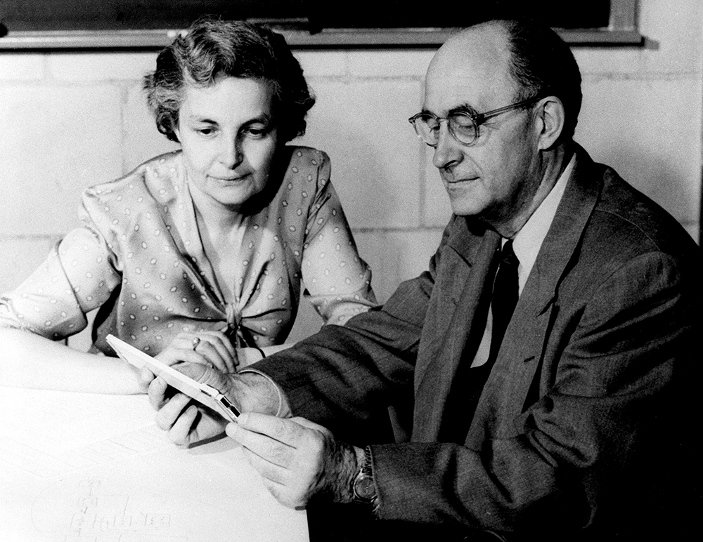 Laura and Enrico Fermi at the Institute for Nuclear Studies, Los Alamos, 1954. U.S. Department of Energy.