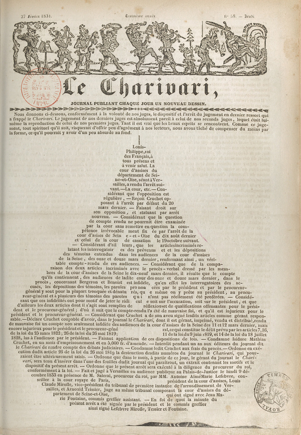Front page of Le Charivari, by Charles Philipon, February 27, 1834. Bibliothèque nationale de France.