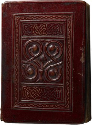 The oldest extant European full book with original binding. The leather is oxblood red and tooled with swirls and Celtic knots.