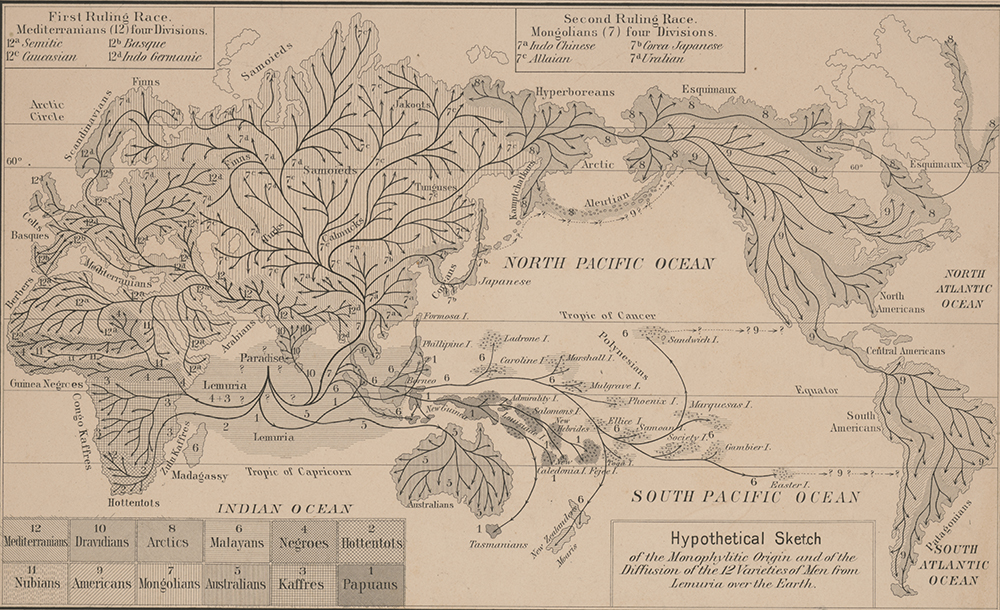 Hypothetical sketch of the monophylitic origin and of the diffusion of the twelve varieties of men from Lemuria over the earth, c. 1876. Library of Congress, Prints and Photographs Division.