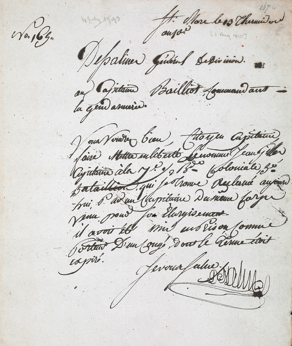 Letter from Jean-Jacques Dessalines, 1793. British Library.