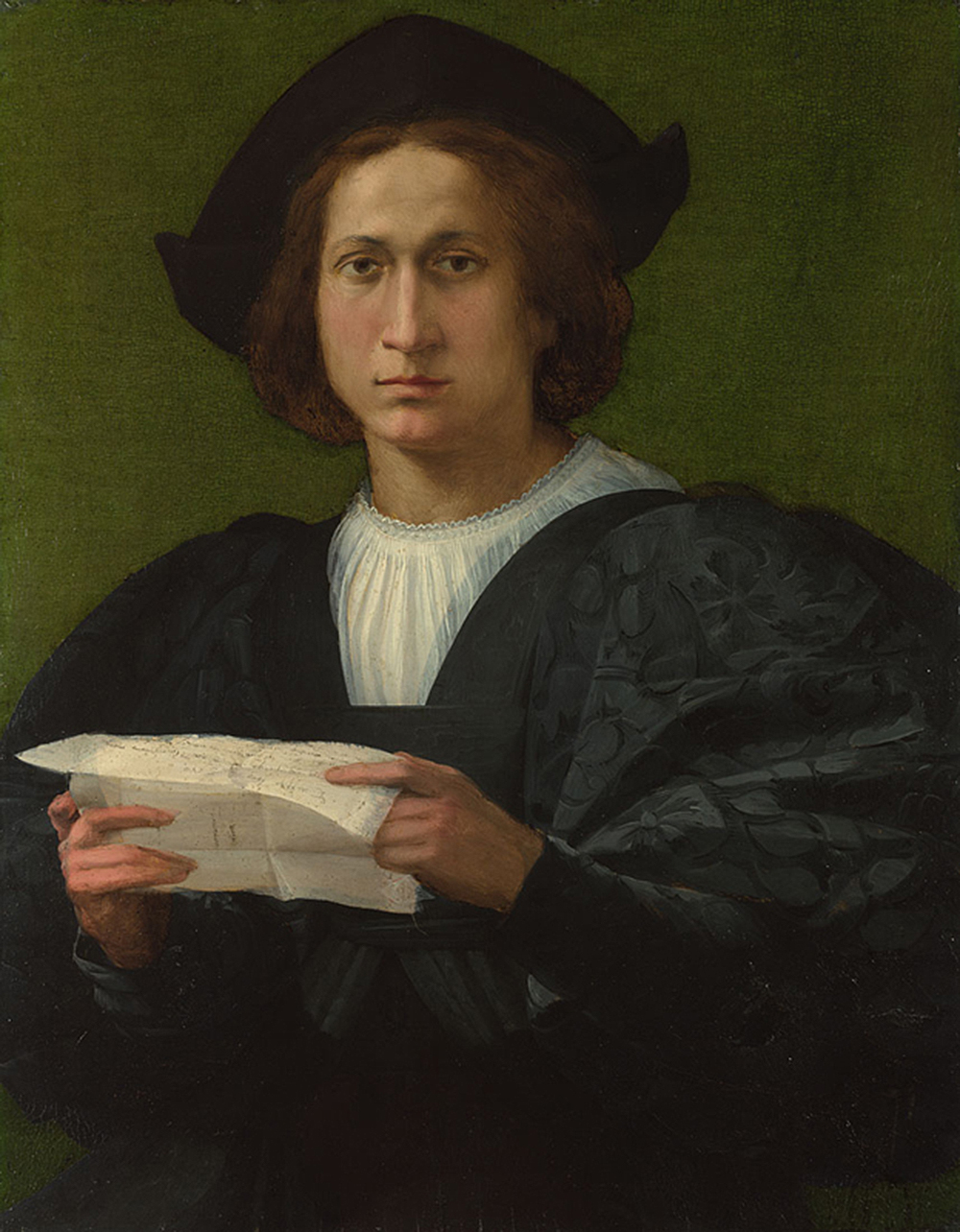 Portrait of a Young Man Holding a Letter, by Rosso Fiorentino, 1518. National Gallery, London, bought, with the generous support of the George Beaumont Group and a number of gifts in wills including a legacy from Mrs. Olive Brazdzionis, 2000.