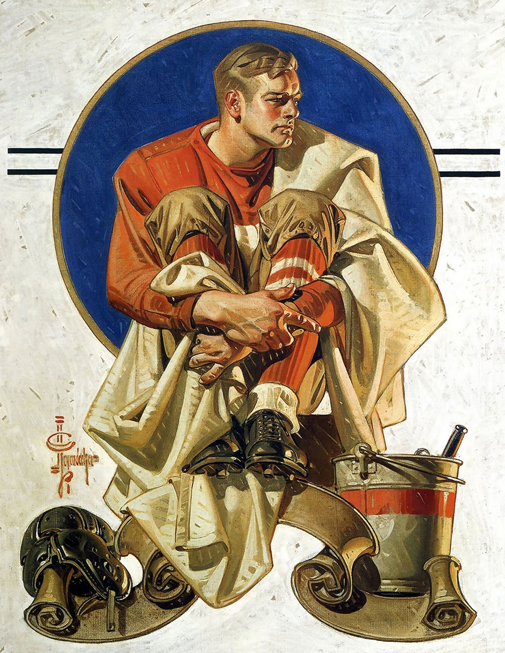 Football Player, by J.C. Leyendecker, from The Saturday Evening Post. Wikimedia Commons.