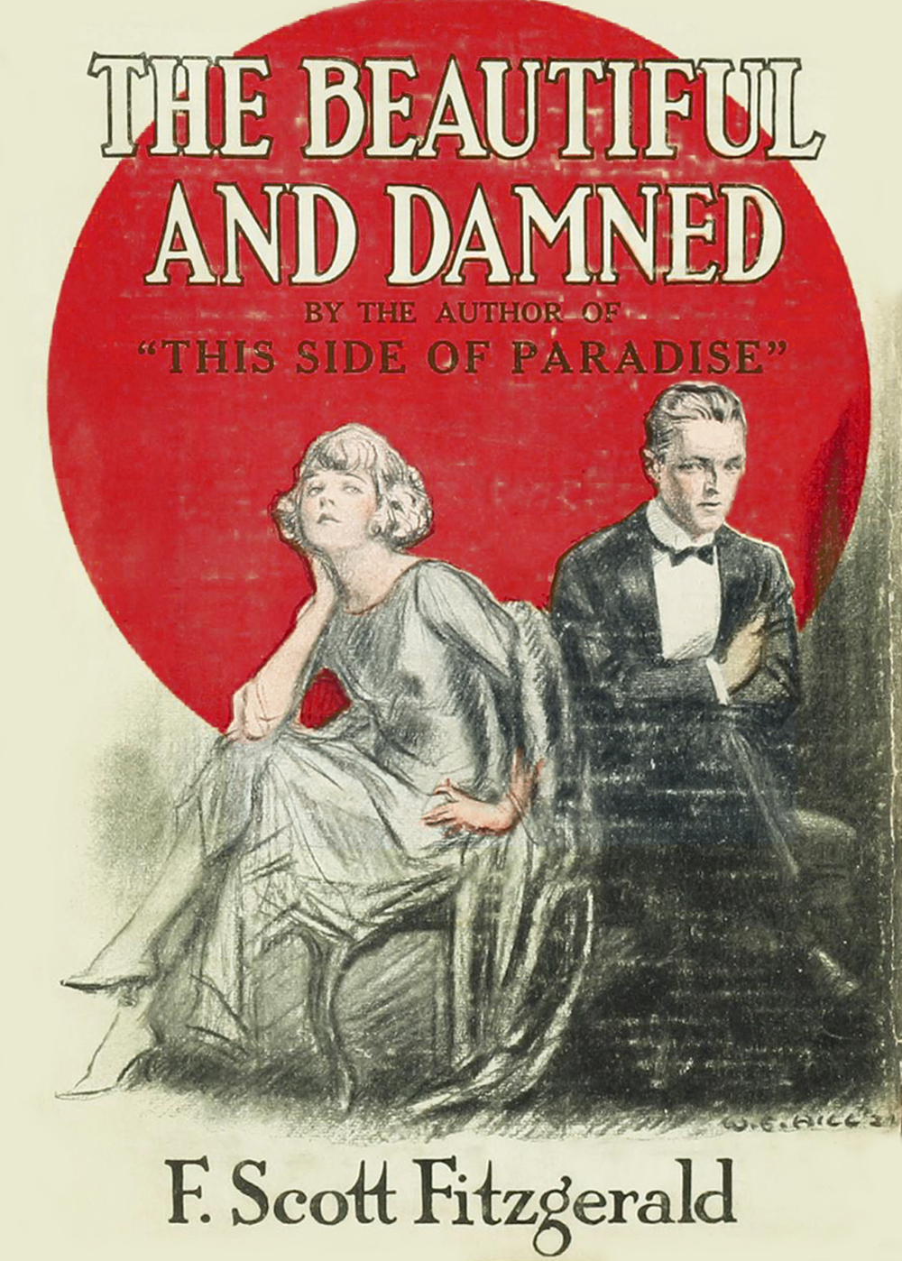 Original cover for F. Scott Fizgerald's The Beautiful and the Damned (1922). Wikimedia Commons.