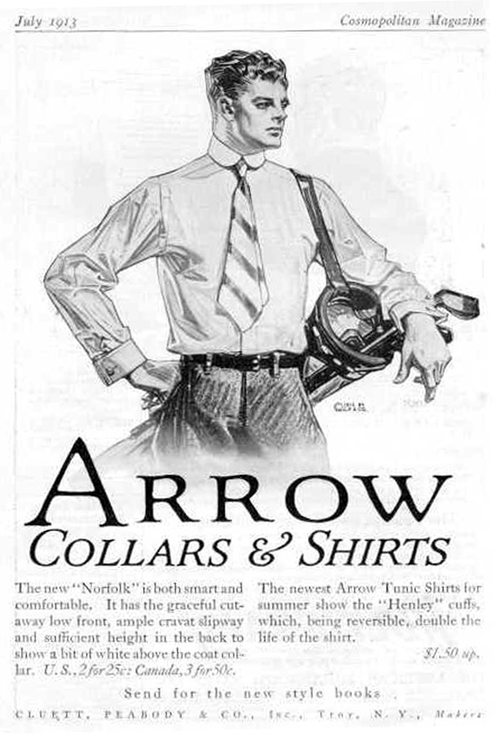Arrow Collar ad by J.C. Leyendecker, 1913. Wikimedia Commons.