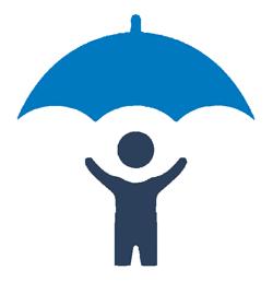 A cartoon of a person standing under an umbrella.