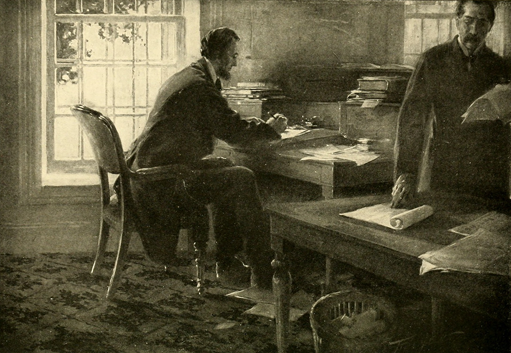 "President Abraham Lincoln in the War Department telegraph office, writing the first draft of the Emancipation Proclamation. Illustration by C.M. Relyea, from David Homer Bates, ""Lincoln in the Telegraph Office"" (The Century Co., 1907)"