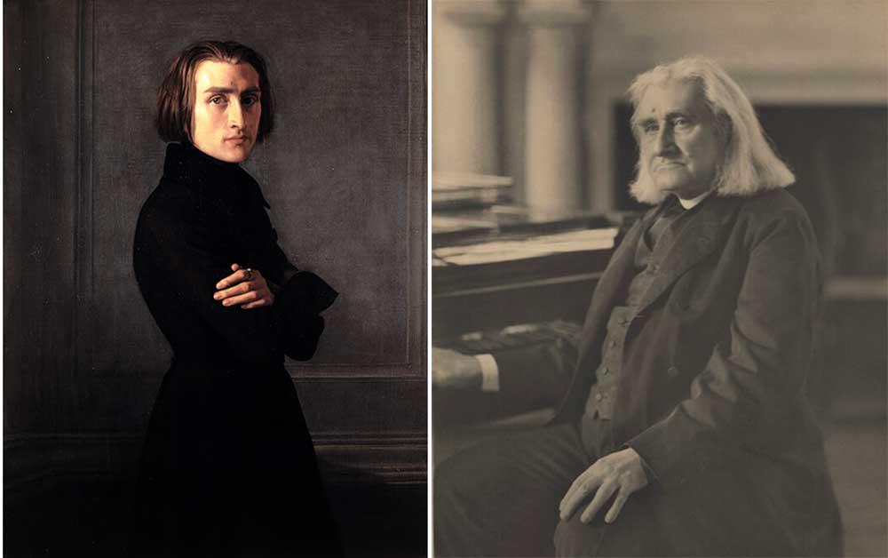 Left: Franz Liszt, by Henri Lehmann, 1839. Right: Franz Liszt, by Elliott & Fry, 1880.