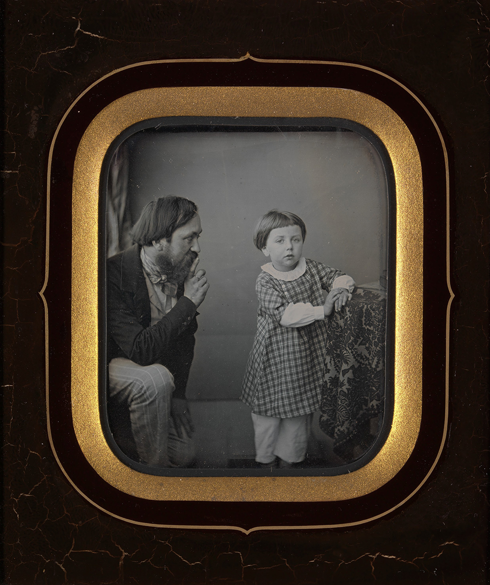 Man calming a young boy posing before the camera, c. 1850. The Metropolitan Museum of Art, Purchase, Alfred Stieglitz Society Gifts, 2015.