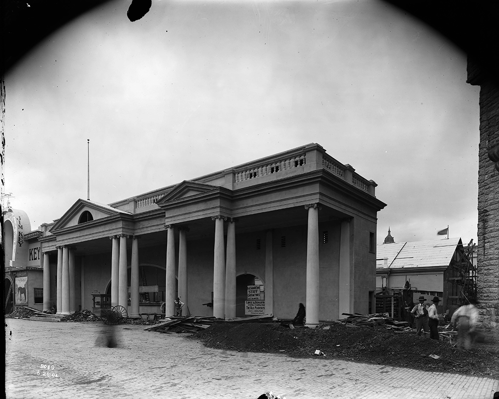 The Old Plantation concession at the Louisiana Purchase Exposition, c. 1904. St. Louis Public Library, Louisiana Purchase Exposition glass plate negative collection.