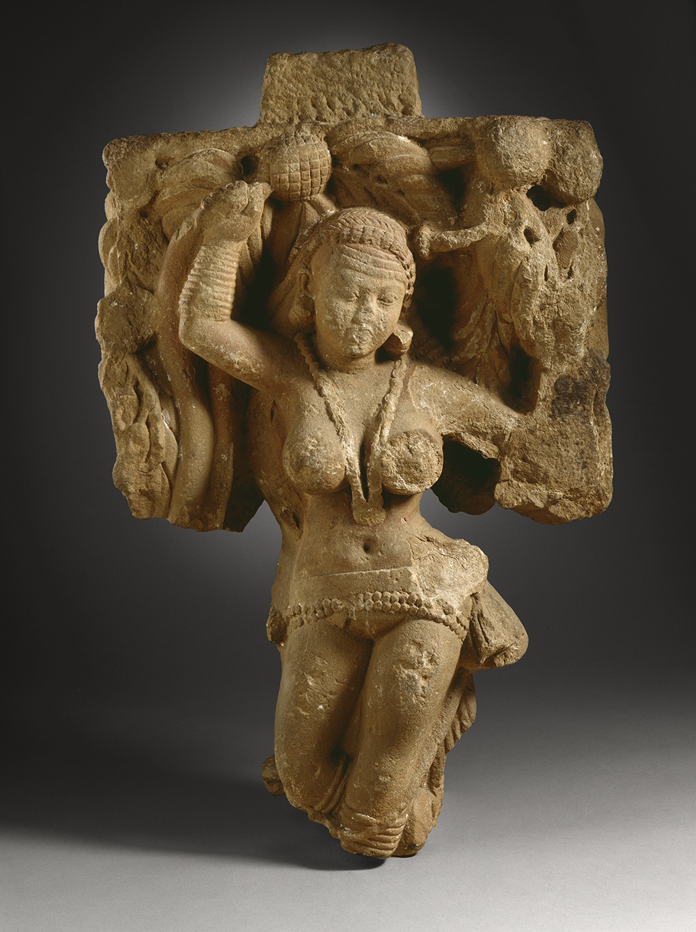 Two addorsed tree dryads, India, c. 25. The Los Angeles County Museum of Art, from the Nasli and Alice Heeramaneck Collection, purchased with funds provided by Mr. and Mrs. Allan C. Balch.